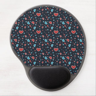 Red and Blue Hearts Pattern Gel Mousepads