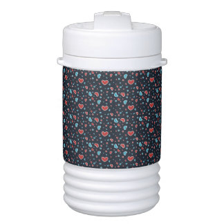 Red and Blue Hearts Pattern Igloo Beverage Cooler