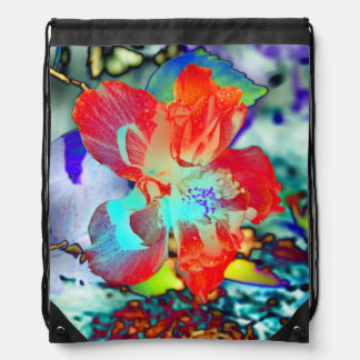 Red and Blue Hibiscus Flower Drawstring Bag