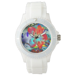 Red and Blue Hibiscus Flower Wrist Watches