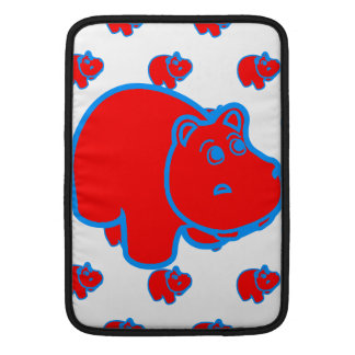 Red and Blue Hippo MacBook Sleeve