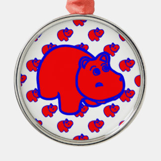 Red and Blue Hippo Metal Ornament