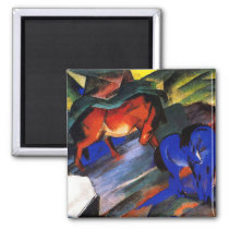 Red and blue horse by Franz Marc Magnet