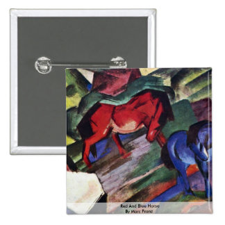 Red And Blue Horse By Marc Franz Pinback Button