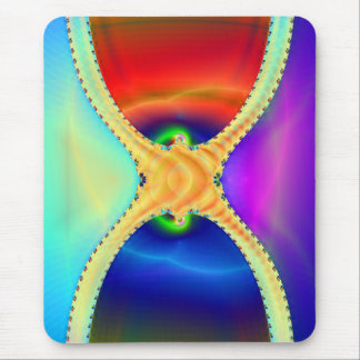 Red and Blue Hourglass Fractal Mouse Pad