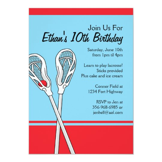 Red and Blue Lacrosse Themed Birthday Invitations. Card
