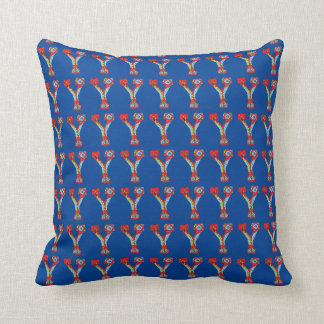 Red and Blue Letter ''Y'' Pillow