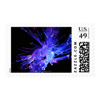 Red and blue light from fiber optic postage