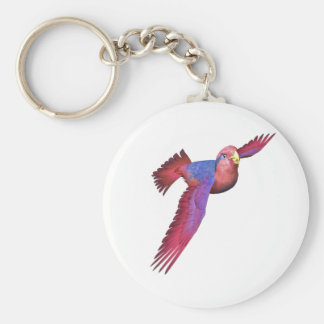 Red and Blue Lory Basic Round Button Keychain
