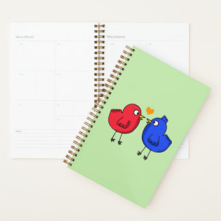 red and blue love birds planner