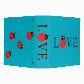 Red and Blue 'Love' Ladybugs Ring Binder