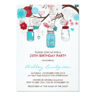 Red and Blue Mason Jars Birthday Party Invitations