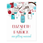 Red and Blue Mason Jars Save the Date Postcard