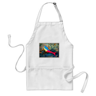 red and blue mermaid adult apron