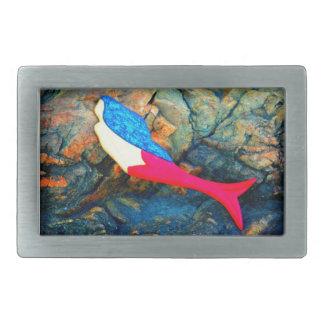 red and blue mermaid rectangular belt buckle