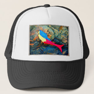 red and blue mermaid trucker hat