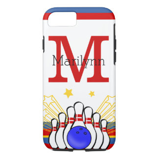 Red and Blue Monogram Personalized Bowling Design iPhone 7 Case