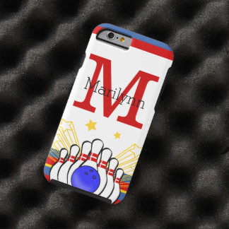 Red and Blue Monogram Personalized Bowling Design Tough iPhone 6 Case