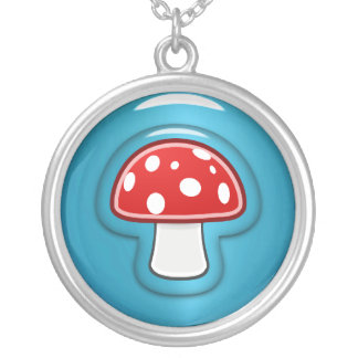 Red and Blue Mushroom Silver Plated Necklace