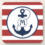 "Red and Blue Nautical Anchor Monogram Drink Coaster<br><div class=""desc"">Red nautical stripes with navy blue anchor and monogram.</div>"