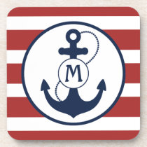 Red and Blue Nautical Anchor Monogram Drink Coaster