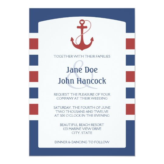 Red and Blue Nautical Anchor Wedding Invitations