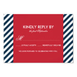"Red and Blue Nautical Stripes Wedding RSVP Card 3.5"" X 5"" Invitation Card"