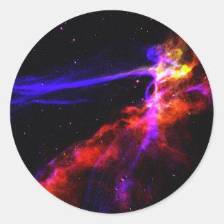 Red and Blue Nebula Round Stickers