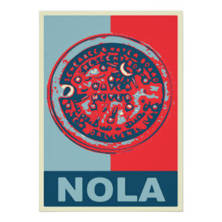 Red and Blue NOLa Water Meter Poster