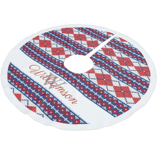 Red and Blue Nordic Fair Isle Argyle Family Name Brushed Polyester ...