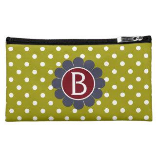 Red and Blue on Olive Granny Flower Polka Dot Makeup Bag