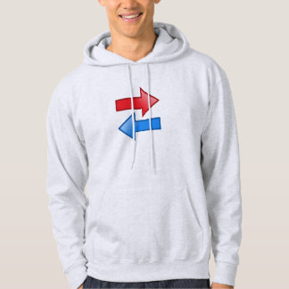 Red and Blue Opposite Arrows Hoodie