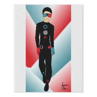 Red and Blue Outfit Faux Canvas Print
