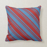 [ Thumbnail: Red and Blue Pattern of Stripes Throw Pillow ]