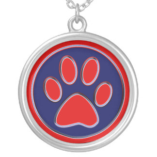 Red and Blue Paw Print Round Pendant Necklace