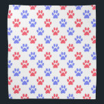"""Red and blue paw prints bandana<br><div class=""""desc"""">Red and blue paw prints - a cute design perfect for a pet lover or a pet!</div>"""