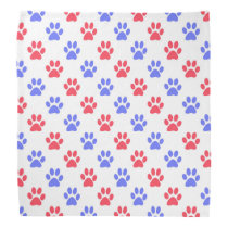 Red and blue paw prints bandana