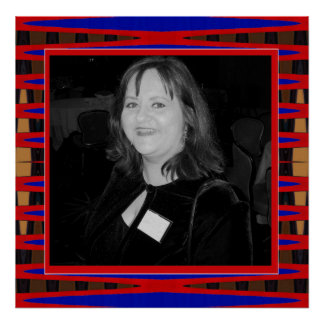 red and blue photo frame poster