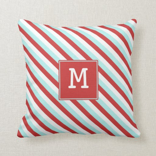 red and blue pillow with initial zazzle