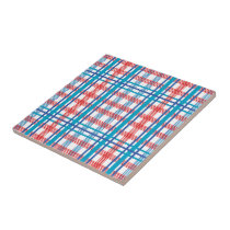 Red and Blue Plaid Ceramic Tile