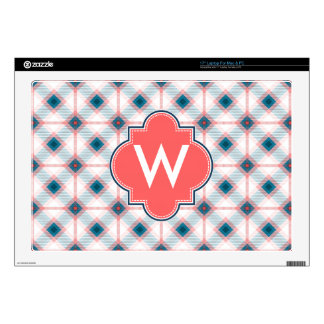 "Red and Blue Plaid Decal For 17"" Laptop"