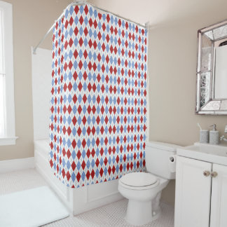 Red and Blue Plaid Pattern Shower Curtain