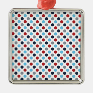 Red And Blue Polka Dots Metal Ornament
