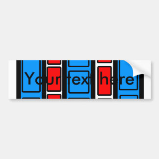 Red and blue rectangles on white car bumper sticker