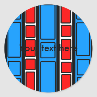 Red and blue rectangles on white classic round sticker