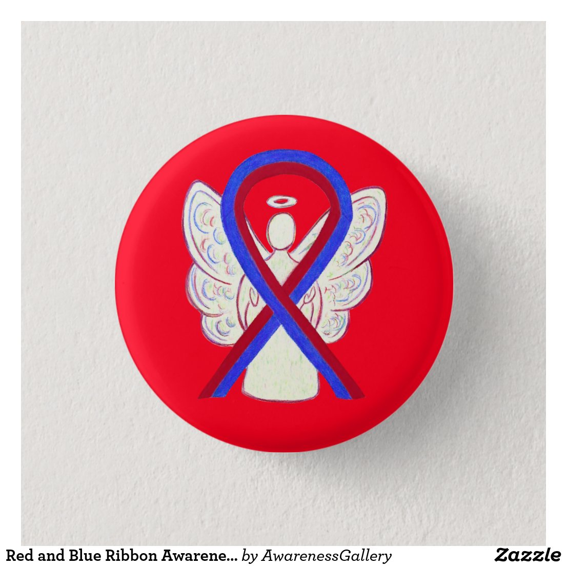 Red and Blue Ribbon Awareness Angel Button Pins