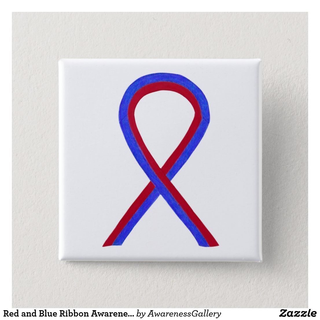 Red and Blue Ribbon Awareness Button Pins