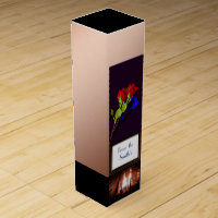 Red and blue rose on Copper fireplace monogrammed Wine Gift Box