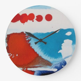red and blue round large clock