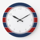 Red and Blue Rugby Stripes Wall Clocks